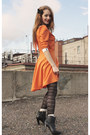 Carrot-orange-handmade-dress-black-h-m-tights