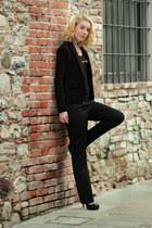 brown Furla watch - black Bershka blazer - black Mango top