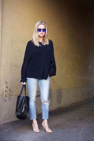navy whyred sweater - camel Mango heels