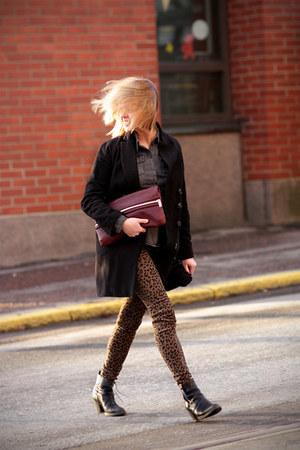 Zara pants - acne boots - H&M coat - KG Kurt Geiger bag