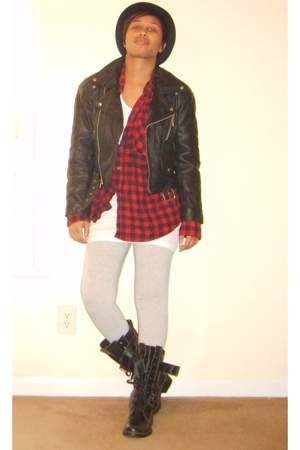 flea market jacket - Shoe Carnival boots - Thrift Store shirt - tights - top - W