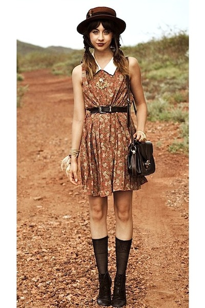 brick red Topshop hat - black thrifted boots - httpwwwawokevintagecom dress