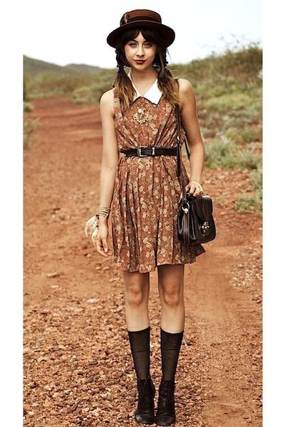 brick red Topshop hat - black thrifted boots - httpwwwawokevintagecom dress