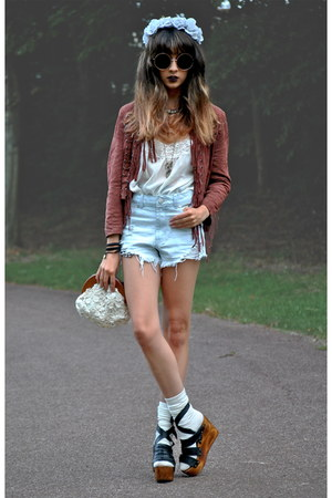 pink Topshop jacket - light blue garland Topshop hat - off white Chicwish bag