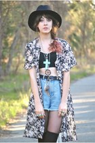 pink vintage dress - black Sportsgirl hat - sky blue One Teaspoon shorts - black