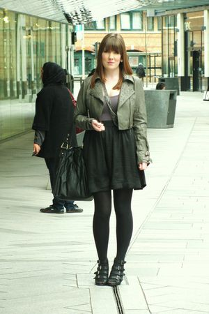 silver new look jacket - brown H&M skirt - Topshop top - black asos shoes - blac