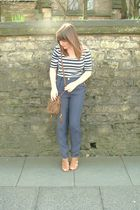 white Topshop top - new look pants - River Island purse - brown new look shoes