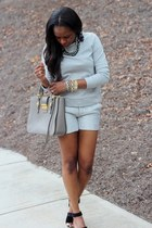 MiuMiu bag - Club Monaco shorts - Pedro Garcia sandals - Club Monaco sweatshirt