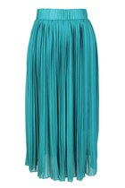 BEFORE PETAL BLOOMS PLEATED FULL-LENGTH SKIRT (GREEN)