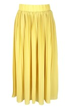 BEFORE PETAL BLOOMS PLEATED FULL-LENGTH SKIRT (YELLOW)