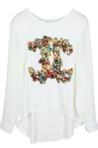 Double Charms Asymmetrical Top (White)