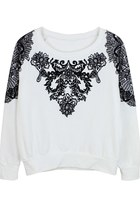 Tribal Craze Flocked Jumper (White)