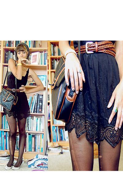 Vintage bag accessories - second hand dress dress - my dads belt belt