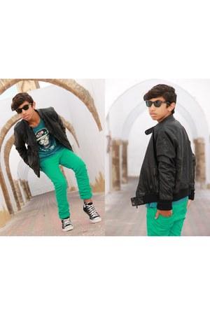 turquoise blue Zara jeans - black Zara jacket - turquoise blue Zara shirt