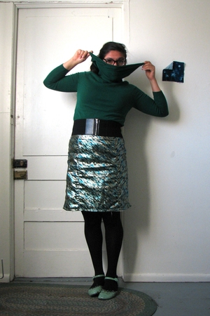 green thrifted Savers sweater - black H&M belt - Self Made skirt - black We Love