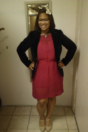 pink sheer H&M dress - black velvet Old Navy blazer