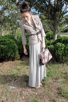 silver Oysho dress - brown Stradivarius shoes - beige pull&bear blazer - brown S