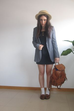 blue Primark dress - brown pull&bear shoes - silver Stradivarius blazer - vintag