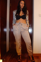 H&M swimwear - Zara blazer - H&M pants - Betsey Johnson shoes