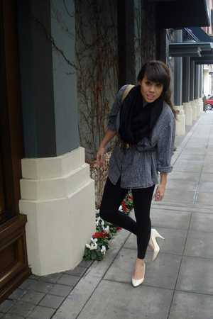 gray shirt - white shoes - black thrifted from Crossroads scarf - green trifted 