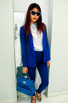 blue electric blue Forever21 blazer - light blue shirt - blue bag