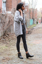 dark gray skinny Topshop jeans - silver thrifted vintage shirt