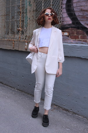 white high-waisted Topshop jeans - peach Forever 21 blazer