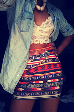jean t-shirt - lace top bra - tribal skirt