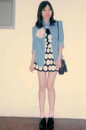 blue Friends boutique shirt - black Topshop dress - pink bonita accessories - pi
