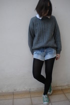 vintage jumper - shorts - Converse sneakers