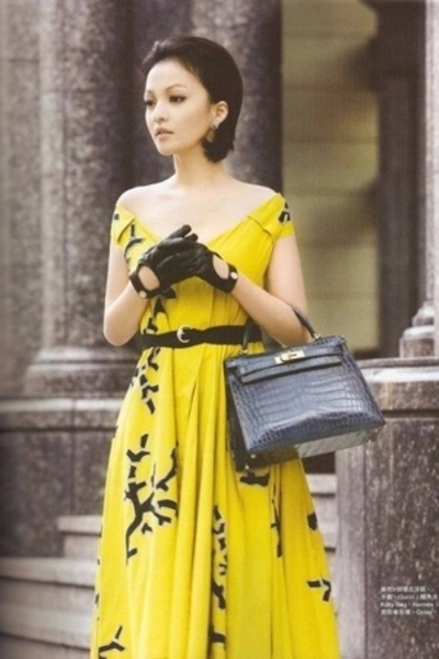 Gucci dress - Gucci belt - Hermes purse - Gucci gloves
