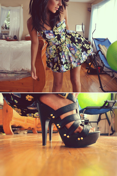 floral dress - heels