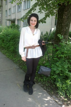 white new look shirt - black boots - black tights - brown belt