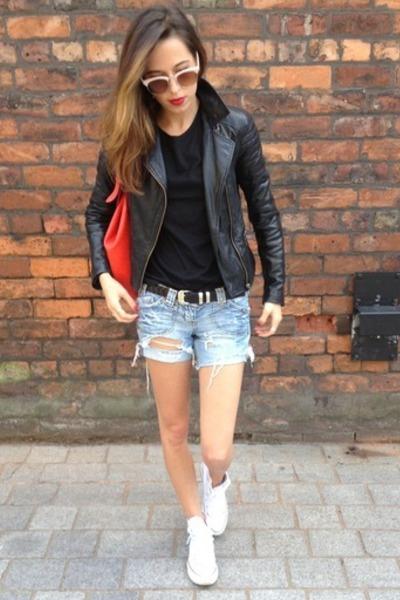 black biker jacket Oasis jacket - red red bag Oasis bag
