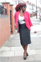 ruby red vintage from Ebay blazer - black tailored skirt TM Lewin shirt