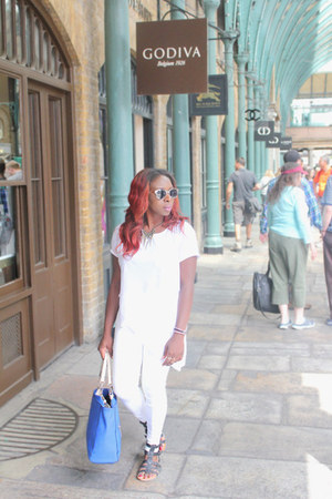 white Topshop jeans - blue everyday bag Zara bag - sunglasses next sunglasses