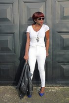 white Topshop jeans - blue Miss Selfridge shoes