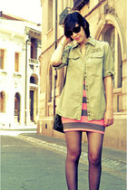 bubble gum H&M dress - dark khaki Zara jacket - camel Basement heels