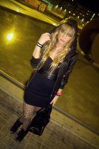 black vintage dress - brown Forever 21 panties - black Kate Moss for Topshop jac