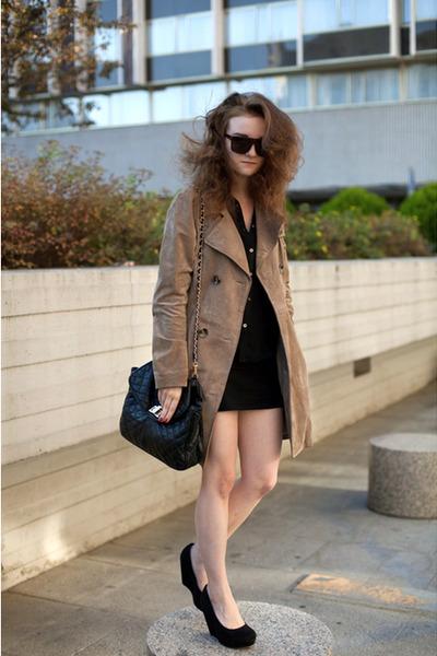 black miss kg asos wedges - tan suede united colors of benetton coat