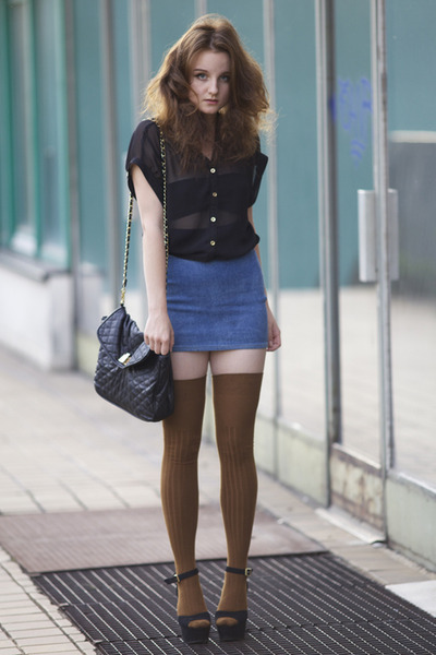 brown Topshop stockings - black Steve Madden wedges