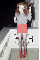 red asos boots - silver H&M jumper - red Topshop skirt