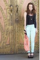 aquamarine mint acid wash Topshop jeans - salmon shopper Topshop bag