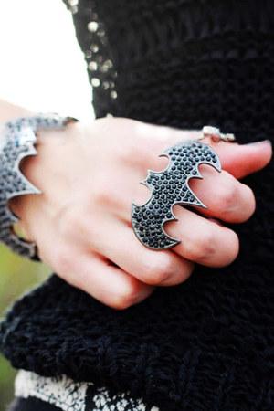 black bat black alloy ring