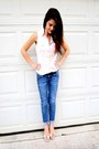 Blue-skinny-crops-american-eagle-outfitters-jeans-nude-rue-21-heels
