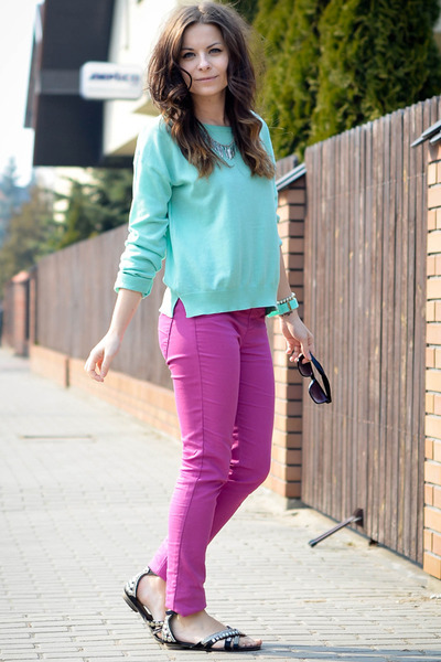 magenta Bershka pants - turquoise blue Bershka sweater - black H&amp;M sunglasses