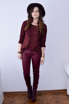 maroon Jeffrey Campbell boots - crimson Bershka hat - maroon Bershka sweater