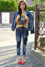 Teal-denim-secondhand-jeans-sky-blue-denim-secondhand-jacket