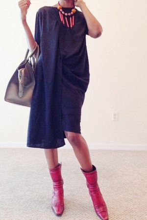 black maison martin margiela dress - red Miu Miu boots - forest green Celine bag