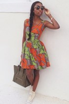 wax cotton custom made dress - forest green Celine bag